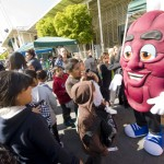 Students with a California raisin at the 2012 Farm & Nutrition Day at the Fresno Fairgrounds.