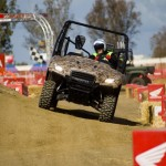 A Honda vehicle test drive during the 2012 World Ag Expo.